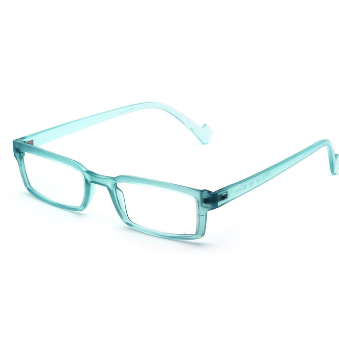 3/4 View of Maiden Lane Reading Glasses by Nannini of Italy, Green Water