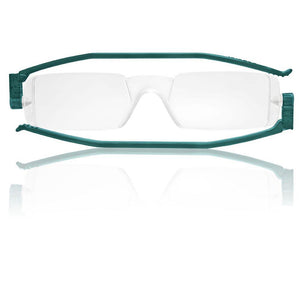 Nannini Compact 1 Italian Made Folding Reading Glasses with Case; Teal - ReadingGlasses.CO/