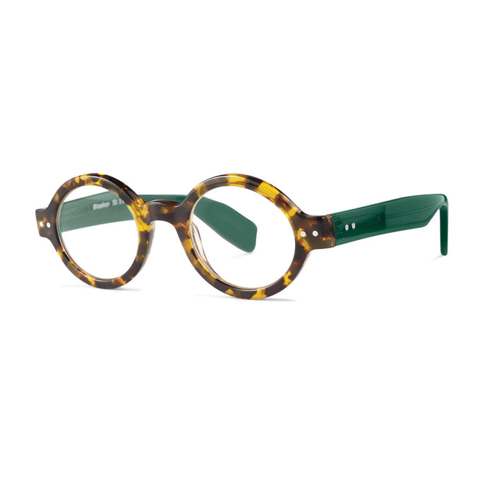 Bleeker Reading Glasses, Tortoise and Green,  3/4 View