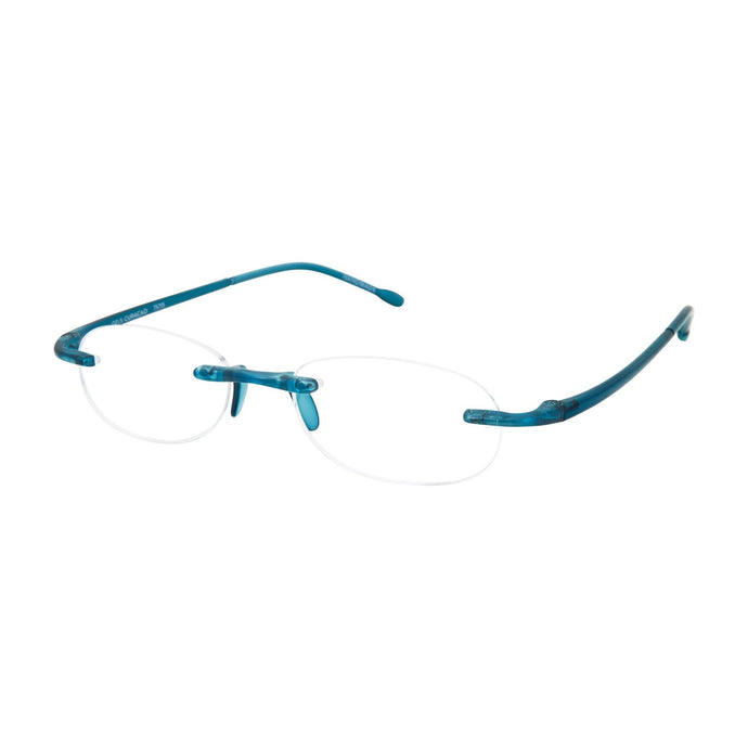 3/4 view of Curaçao Blue Gels Reading Glasses by Scojo New York