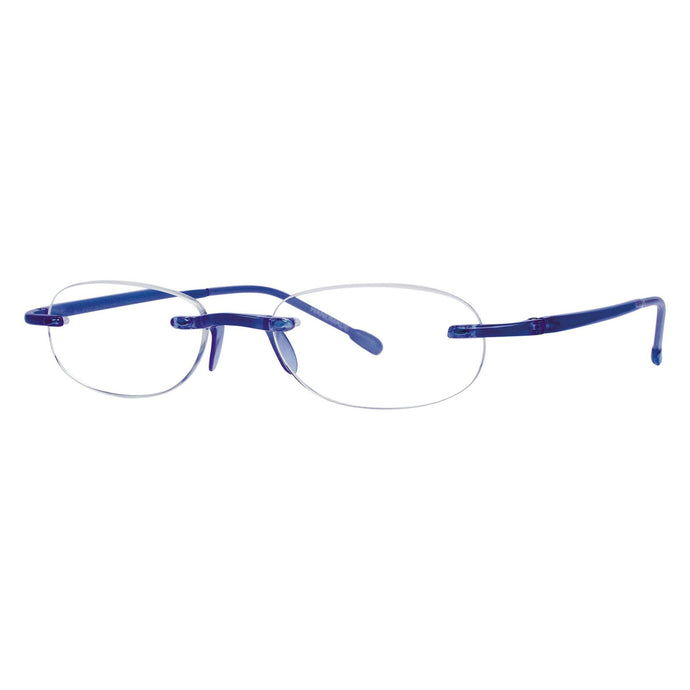 3/4 view Gels cobalt blue reading glasses by Scojo New York