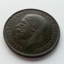 Load image into Gallery viewer, Vintage 1927 one penny British Empire coin George V England