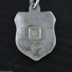 Vintage enamel solid silver charm pendant BARCELONA rare SPAIN 800 nice gift