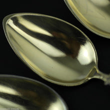 Load image into Gallery viewer, Antique Italian sterling silver spoons set 5 five gilt deer legs handles Italian