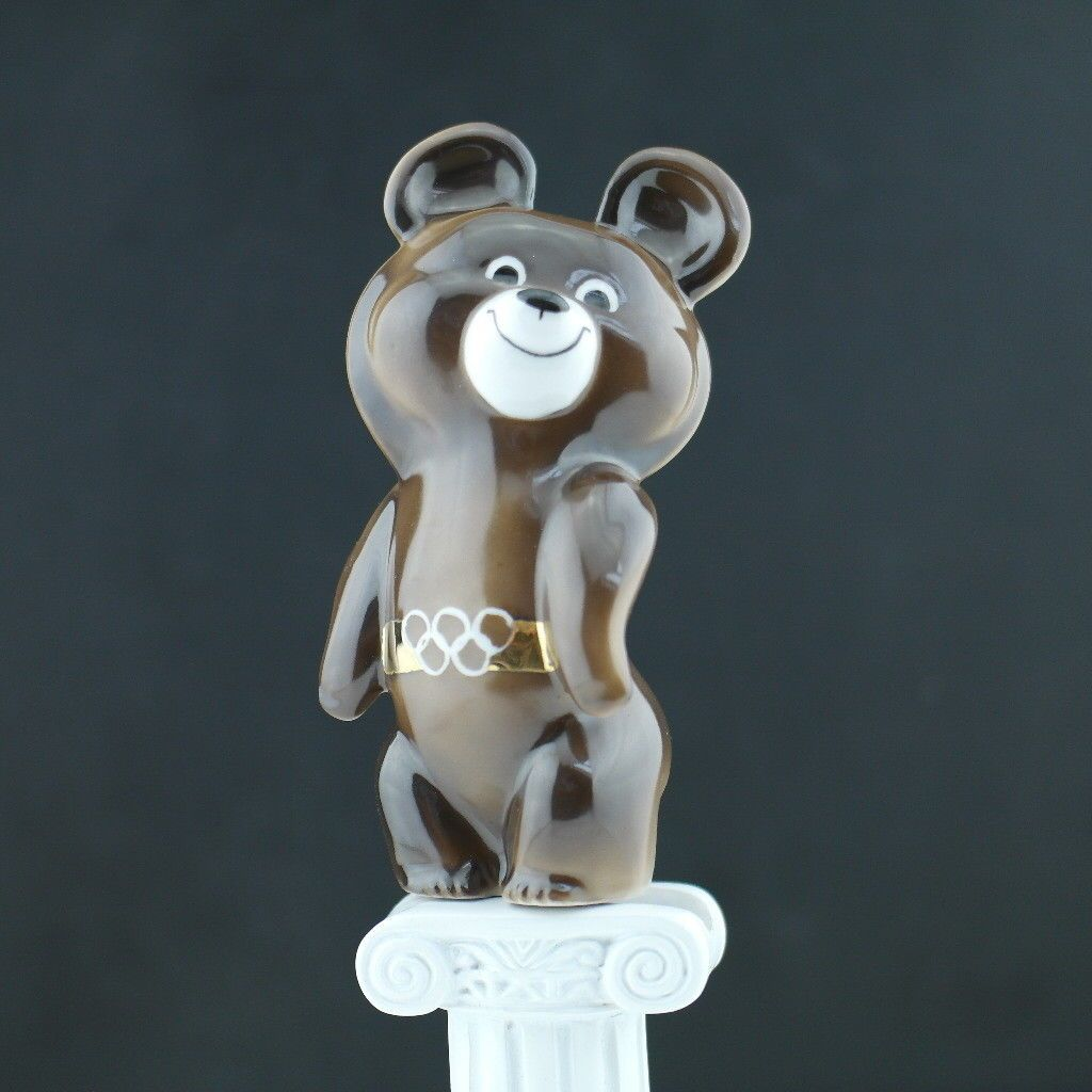 Vintage Moscow 1980 Olympic Games symbol Bear Mascot USSR Dulevo porcelain gift