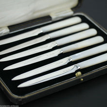 Load image into Gallery viewer, Antique 1935 solid silver set of six knives with Nacre handles