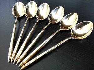 Vintage set of six solid silver gilt tea coffee spoons Denmark Sterling 925 S 55