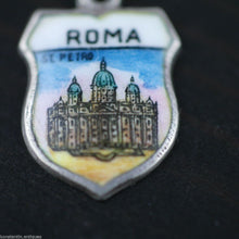 Load image into Gallery viewer, Vintage Roma enamel 800 REU silver charm pendant Rome Italy
