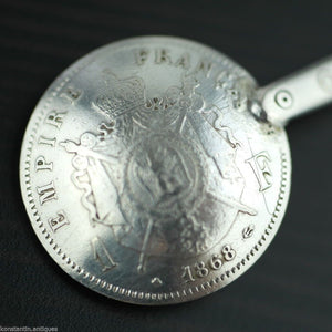 Antique 1868 solid silver coin spoon French Empire Napoleon III 1 Franc