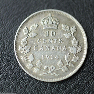 Antique 1914 silver coin 10 cents King George V of British Empire Canada
