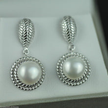 Load image into Gallery viewer, Stylish sterling silver cultured pearls earrings CZ Lucoral 925