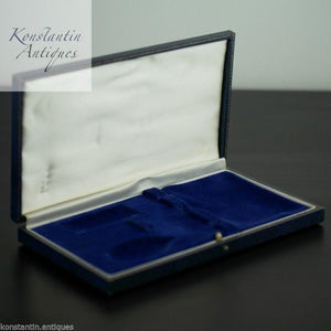 Antique blue box for Christening set Fork and spoon