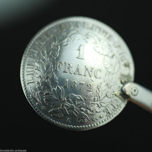 Antique 1872 solid silver coin spoon France Republique Liberte 1 Franc