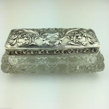 Load image into Gallery viewer, Antique 1904 sterling silver topped cut glass trinket box