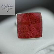 Load image into Gallery viewer, Vintage sterling silver ring red coral square