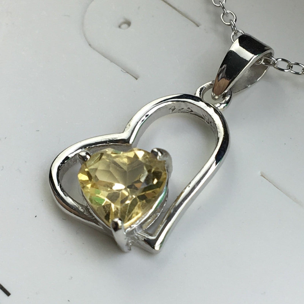Sterling silver Citrine stone pendant on chain 925 Chateau Montreal