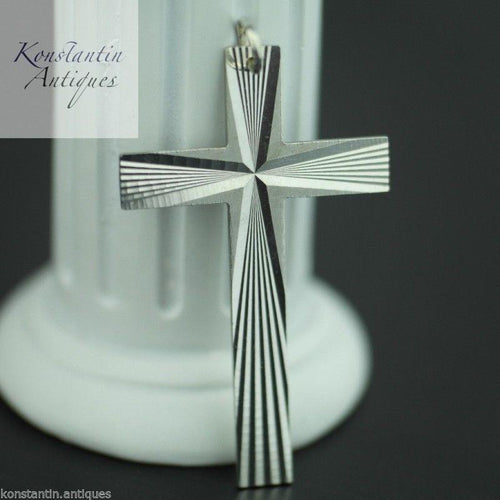 Vintage sterling silver cross pendant solid Art Deco rare gift