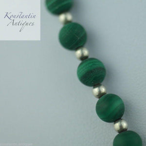 Antique malachite and sterling silver beads necklace
