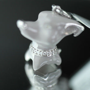Sterling silver pendant grey Enamel Dog with incrusted collar band