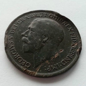 Antique 1917 one penny British coin George V Empire with green patina