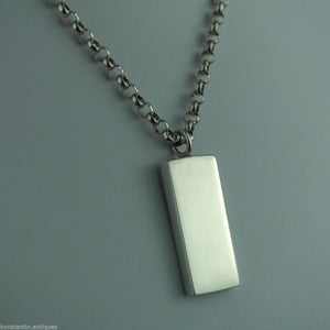 Vintage 1977 sterling silver bar pendant on chain Sheffield England