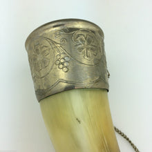 Load image into Gallery viewer, Vintage Caucasian Drinking Horn Cup for Wine Vodka Cognac