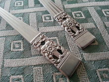 Load image into Gallery viewer, Vintage Community silver plated decorated two serving spoons British Empire