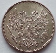 Load image into Gallery viewer, Antique 1917 solid silver coin 50 pennia kopeks Emperor Nicholas II of Russian Empire