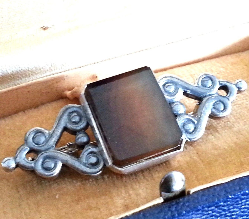 Vintage solid silver Agate brooch 875 USSR Leningrad Russia great gift
