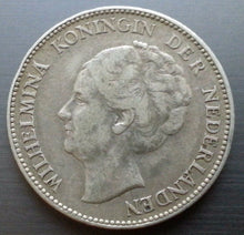 Load image into Gallery viewer, Vintage 1931 silver coin 1 gulden Queen Wilhelmina of the Netherlands 20thC