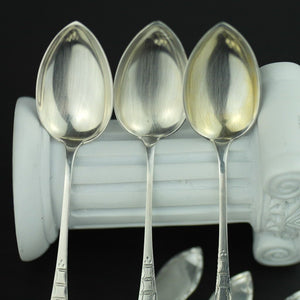 Antique set of six solid silver spoons 830s Scandinavian style Norway
