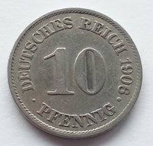 Load image into Gallery viewer, Antique 1906 coin 10 phenning Kaizer Deutsches reich Germany Second Reich