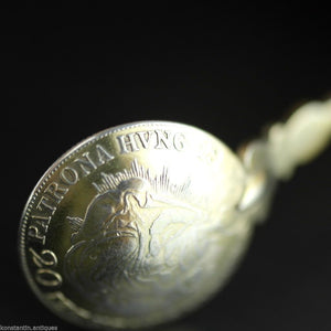 Antique 1835 gold plated solid silver 20 Kreuzer coin spoon Francis II Holy Roman Emperor 800 German