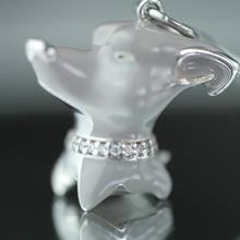 Load image into Gallery viewer, Sterling silver pendant grey Enamel Dog with incrusted collar band