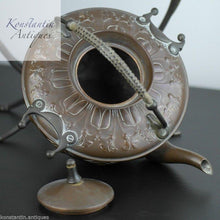 Load image into Gallery viewer, Art Nouveau WMF Copper Tea Coffee Spirit Kettle on Pewter stand Antique
