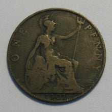 Load image into Gallery viewer, Antique 1907 one penny British Empire coin EDWARDS VII Imperial king