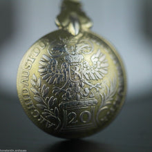 Load image into Gallery viewer, Antique 1757 gold plated solid silver 20 Kreuzer coin spoon Theresia Austrian Empire 800