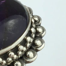 Load image into Gallery viewer, Classic solid silver ring with huge cabochon purple amethyst gemstone