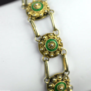 Antique 20thC solid silver gold plated Guilloche Enamel bracelet chain Proto 833
