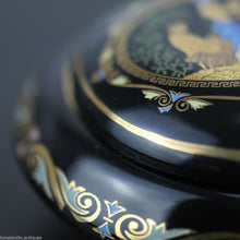 Load image into Gallery viewer, Vintage hand made 24ct Gold plated pottery trinket bowl box Greek Royal blue