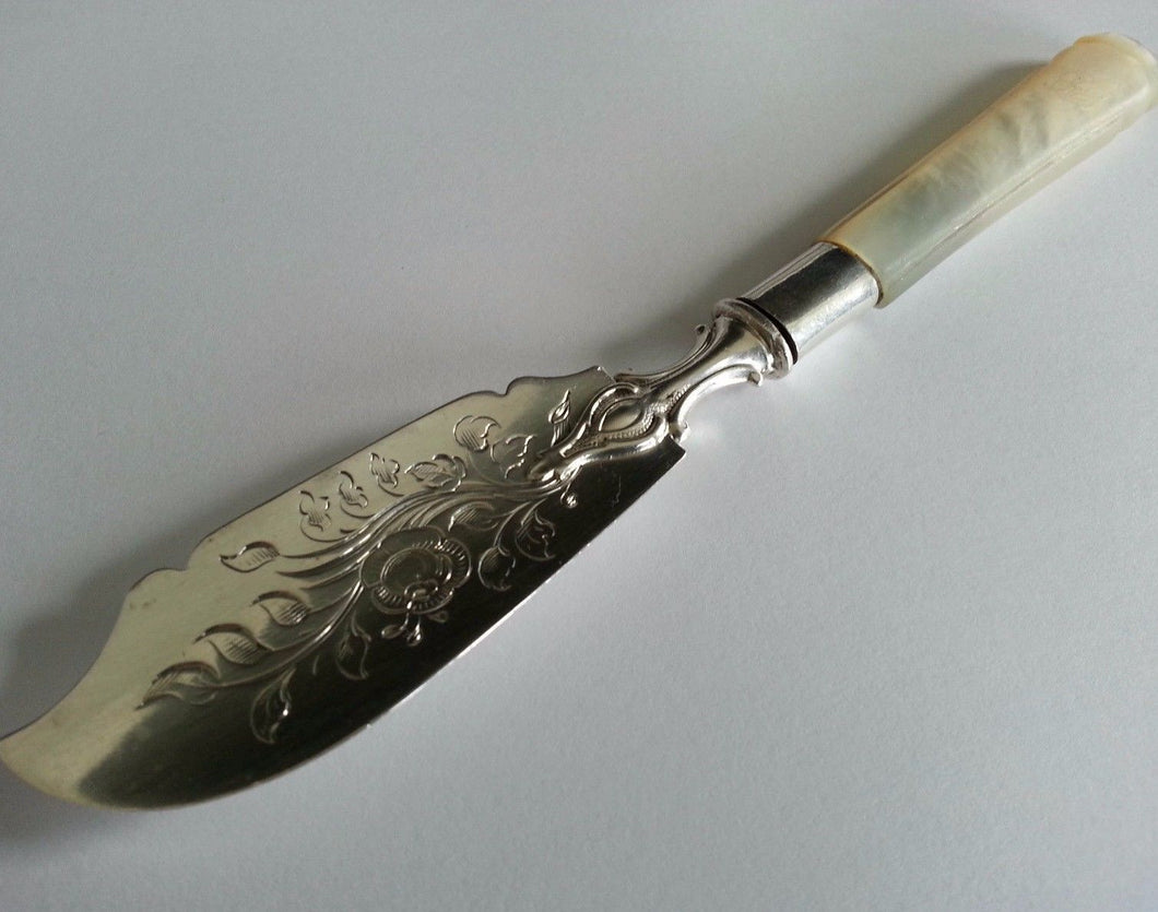 Victorian 1851 solid silver knife mother of pearl handle Sheffield Antique gift
