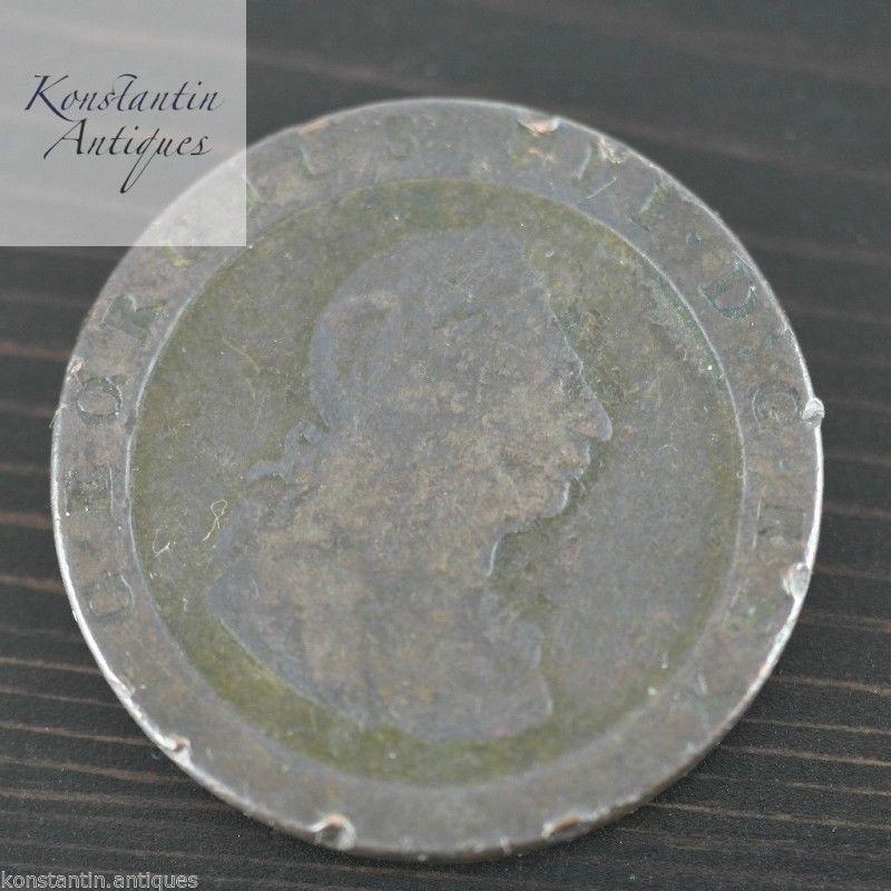 Antique 18thC British Empire 1797 George III Cartwheel Penny coin
