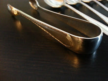 Load image into Gallery viewer, Antique 1914 sterling silver set of six spoons and tongs Sheffield