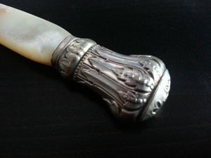 Antique silver plated ornamented fish fork mother of pearl handle MOP Nacre