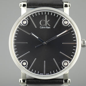 Calvin Klein Cogent Black Dial Swiss Gents wrist watch with black leather band