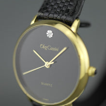Load image into Gallery viewer, Elegant Oleg Cassini diamond gold plated case ladies wrist watch with black dial