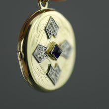 Load image into Gallery viewer, Antique 56 gold pendant locket pyramid sapphire and 12 diamonds Russian Empire