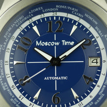 Load image into Gallery viewer, Moscow Time a world timer 27 jewels Gent's Automatic wrist watch with blue dial and brown leather strap