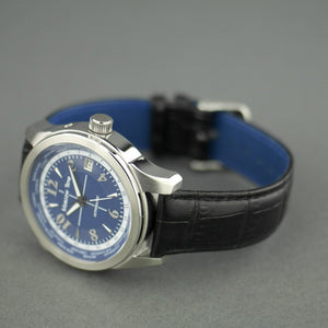 Moscow Time a world timer 27 jewels Gent's Automatic wrist watch with blue dial and brown leather strap