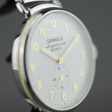 Load image into Gallery viewer, Shinola The Canfield wrist watch Matte Velvet White dial gold and silver tones stainless steel bracelet